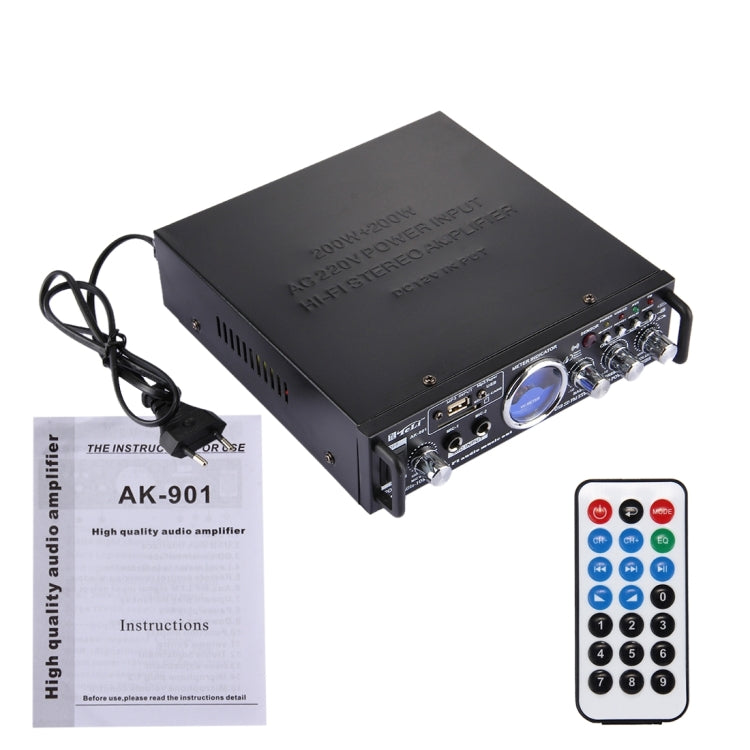 AK-901 Stereo Audio Karaoke Power Amplifier with Remote Control, Support SD Card / USB Flash Disk(Black) |