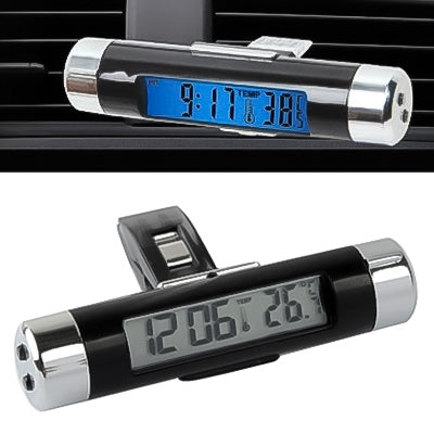 Car Decoration Desk LCD Display Clock & Thermometer with Blue Backlight |