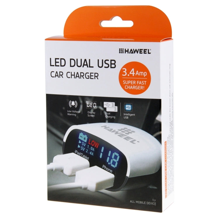 [UAE Warehouse] HAWEEL 3.4A Dual USB Ports LED Display QC 3.0 Quick Car Charger for Smartphone / Tablet PC, Support  FCP and AFC Fast Charging Protocol(Black) |