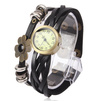 Fashion Flower Quartz Watch Wrist Watch with PU Leather Band - star-produkte.myshopify.com