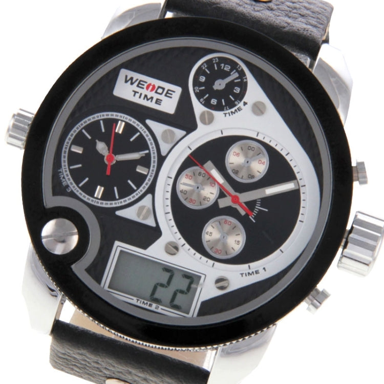 WEIDE WH2305 Digital LCD Dual Time Date Display Oversized Wristwatch 30m Waterproof Leather Strap Quartz Sport Watch for Men(White) - Star Produkte