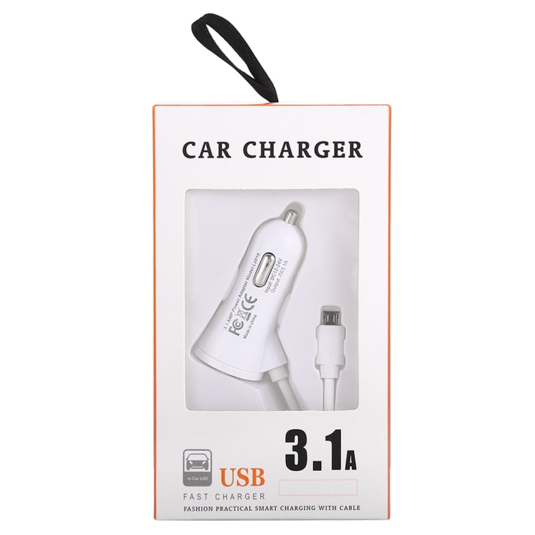 3.1A Dual Ports Android Wired Smart Car Charger, For Galaxy, Sony, Lenovo, HTC, Huawei, and other Smartphones (White) |