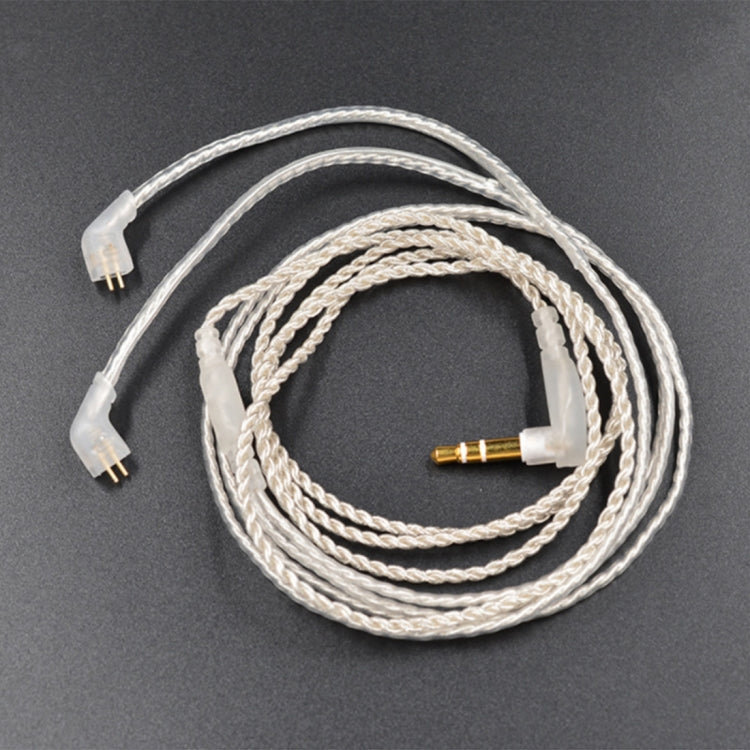 3.5mm Twist Texture Silver-plated Audio Earphone Cable Applicable to KZ ED12(Silver) |