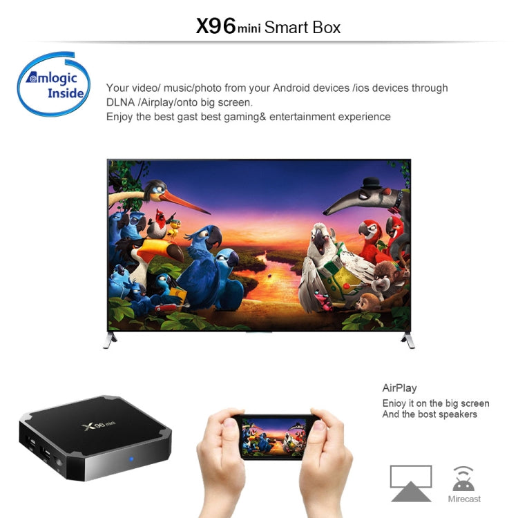 X96 Mini Android Smart TV Box Set Top Box, Android 7.1, Amlogic S905W Quad Core, 1GB+8GB, 2.4GHz WiFi, with LED Color Fly Air Mouse I8 Mini Keyboard, EU Plug |