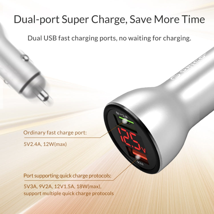 ORICO 30W Dual Ports (QC3.0*1) USB Smart Car Charger (UPF-K2)(Silver) |