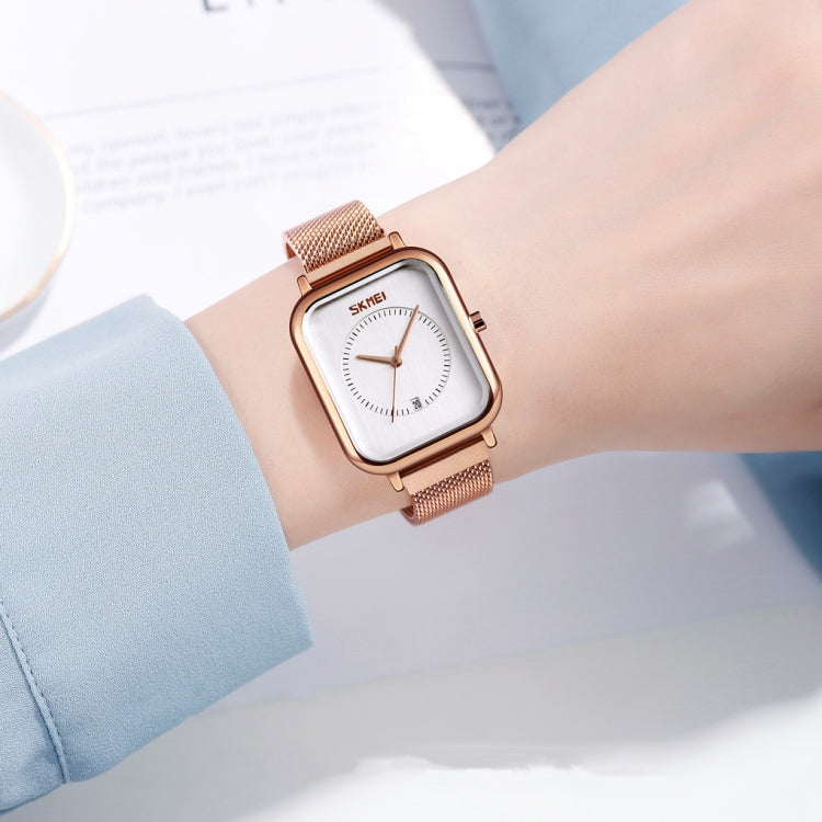 SKMEI 9207 Fashion Creative Simple Watch Men Magnetic Buckle Mesh Belt Steel Belt Couple Quartz Watch(Silver Blue) - star-produkte.myshopify.com