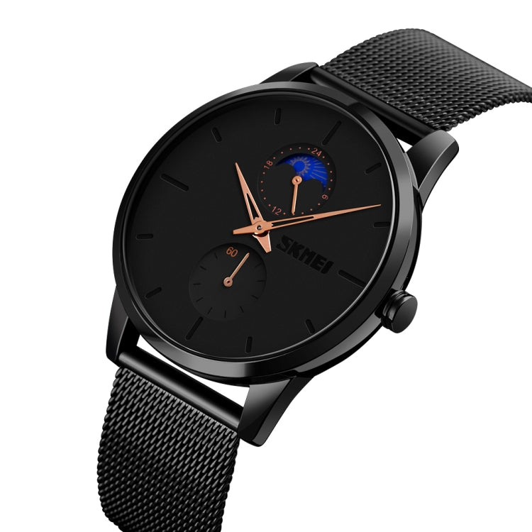 Skmei 9208 Moon Phase Quartz Watch Casual Simple Business Sports Watch for Men(Rose Gold) - star-produkte.myshopify.com