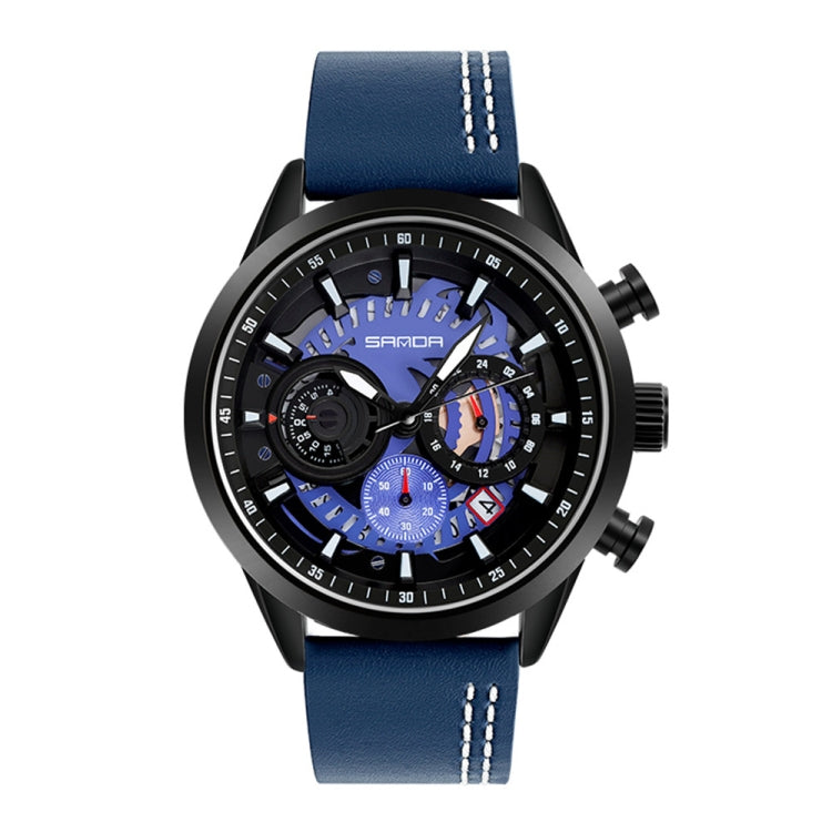 SANDA 5010P Six-Pin Cool Big Dial Waterproof Three-Eye Men Watch Leather Strap Fashion Trend Men Watch(Blue) - star-produkte.myshopify.com