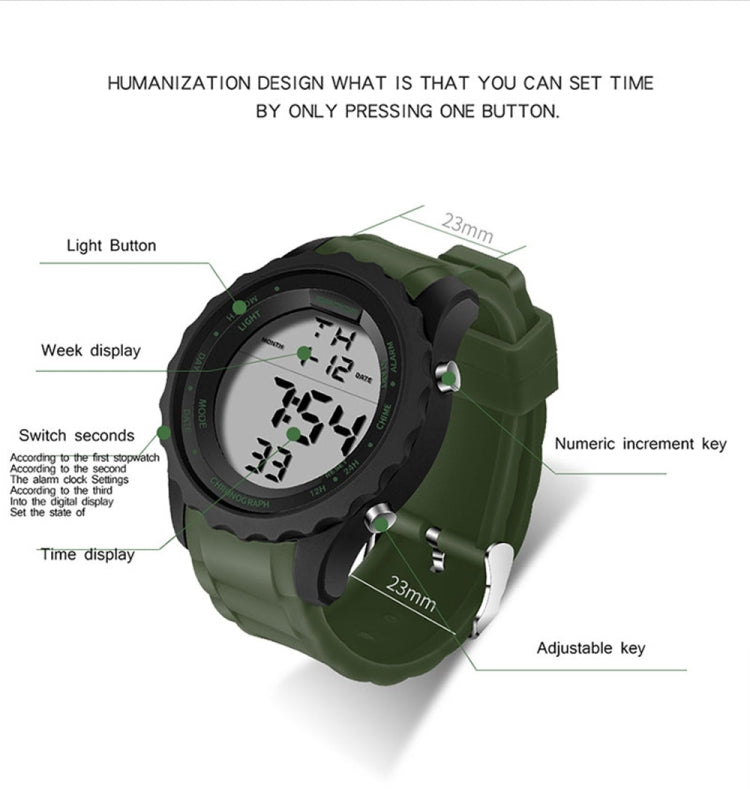 SANDA  369 Men Waterproof Watch Individual Fashion Sports Multi Function Electronic Watch Trend Student LED Watch(Black White) - star-produkte.myshopify.com