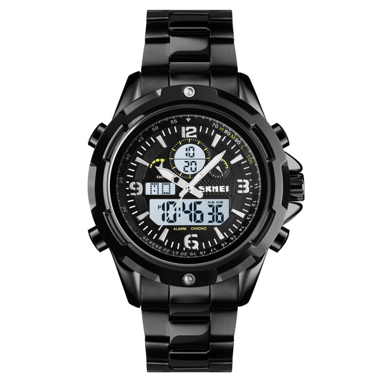 Skmei 1499 Men Wristwatch Multi Function Fashion Sports Steel Band Luminous Double Display Watch(Black White) - Star Produkte