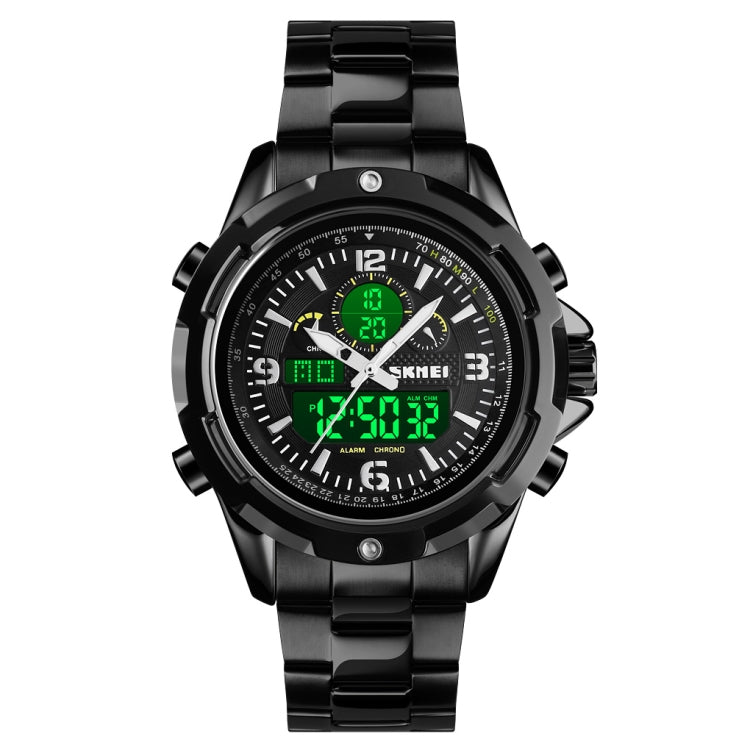 Skmei 1499 Men Wristwatch Multi Function Fashion Sports Steel Band Luminous Double Display Watch(Black) - Star Produkte