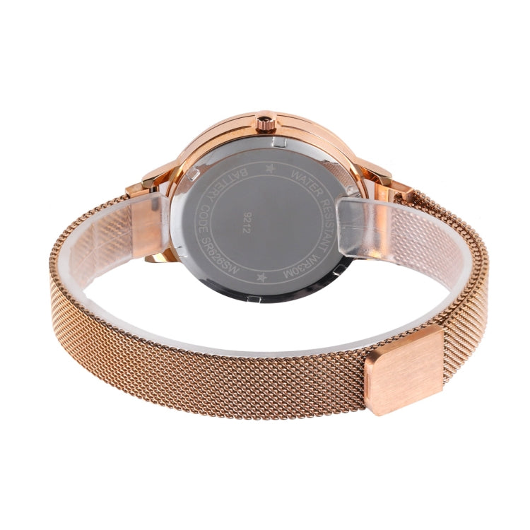 Skmei 9212 Fashion Lady Quartz Watch Student Female Temperament Waterproof Magnetic Suction Net Belt Watch(Flower Color) - star-produkte.myshopify.com