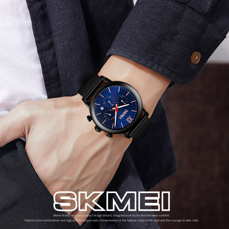 Skmei 9203 Night Light Men Watch Fashion Leisure Multi-Function Timing Steel Mesh Belt Quartz Watch(Black) - star-produkte.myshopify.com