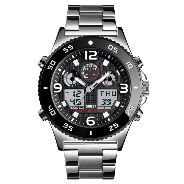 SKMEI 1538 Multi-Function Time Large Dial Steel Belt Men  Casual Sports Electronic Watch(Silver-Steel Belt) - Star Produkte