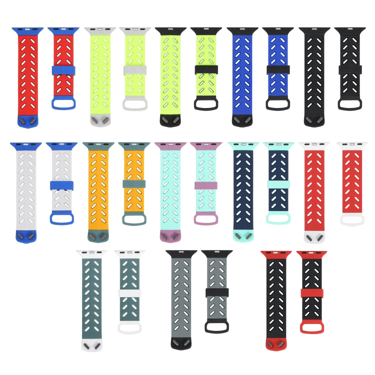 For Apple Watch Series 6 & SE & 5 & 4 40mm / 3 & 2 & 1 38mm Silicone breathable strap sports fashion(White) - star-produkte.myshopify.com