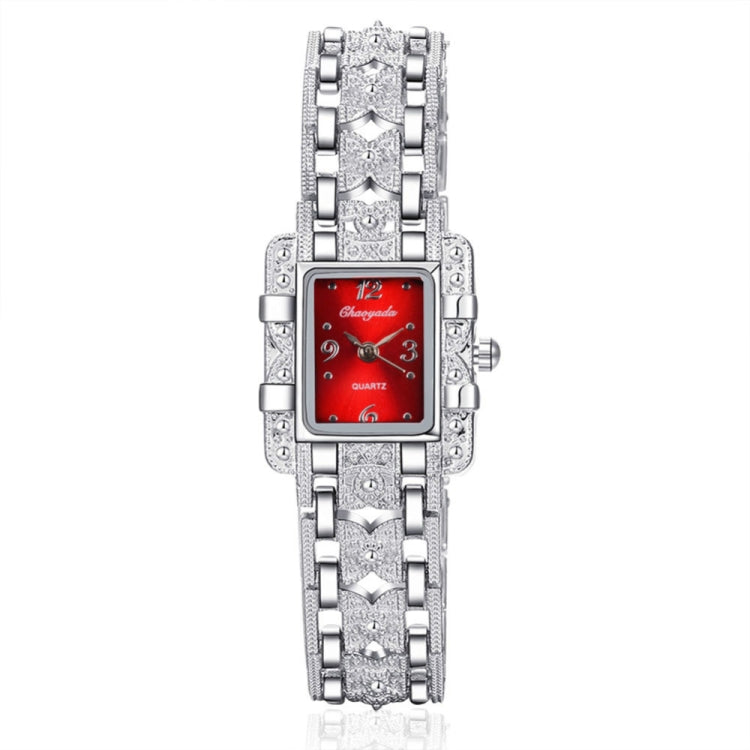 Square Dial Stainless Steel Strap Quartz Watch(Red) - star-produkte.myshopify.com