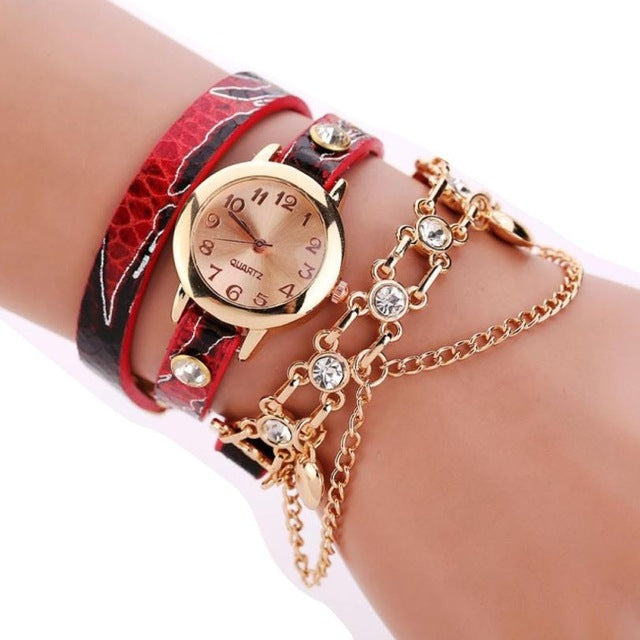 Women Round Dial Diamond Leather Belt Loop Bracelet Quartz Watch(Red) - star-produkte.myshopify.com