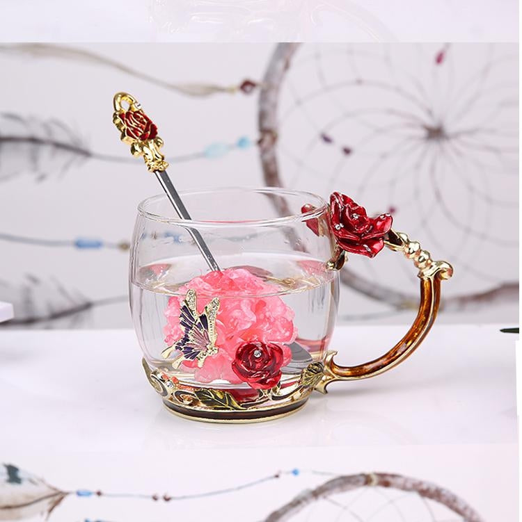 Enamel Coffee Cup Mug Wedding Gift Flower Tea Glass Cups Set with Spoon(Red Short Type) - Star Produkte