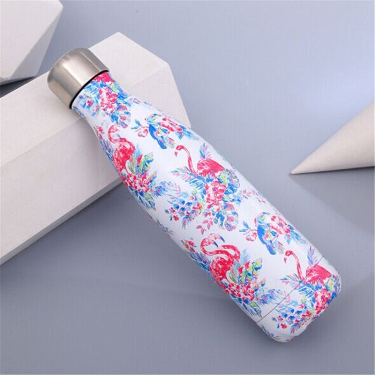 Animals Plants Pattern Thermal Cup Vacuum Flask Heat Water Bottle Portable Stainless Steel Sports Kettle, Capacity:500ml(White Flamingo) |