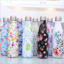 Animals Plants Pattern Thermal Cup Vacuum Flask Heat Water Bottle Portable Stainless Steel Sports Kettle, Capacity:500ml(White Cactus) |