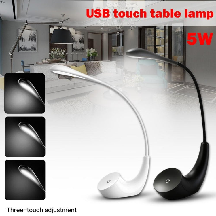 5W 3-level Dimmable Rechargeable Touch Switch Eye-protection LED Desk Lamp Reading Study Table Light(Black) |