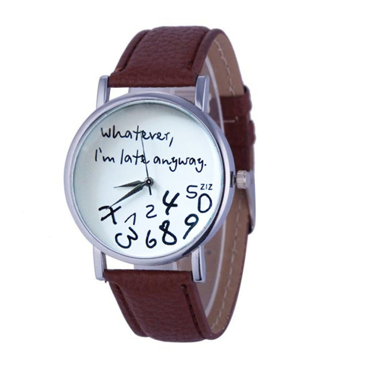 2 PCS Alphabet Number Pattern Leather Strap Watch(Brown) - Star Produkte