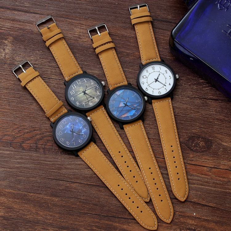 Waterproof Retro PU Leather Strap Quartz Watch(Black Band Cosmic Dial) - Star Produkte
