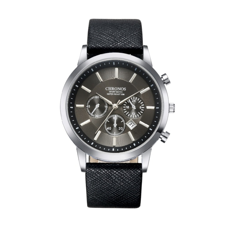 CHRONOS CH0401 Three-eye Six-needle Leather Belt Sports Watch for Men(Black) - Star Produkte