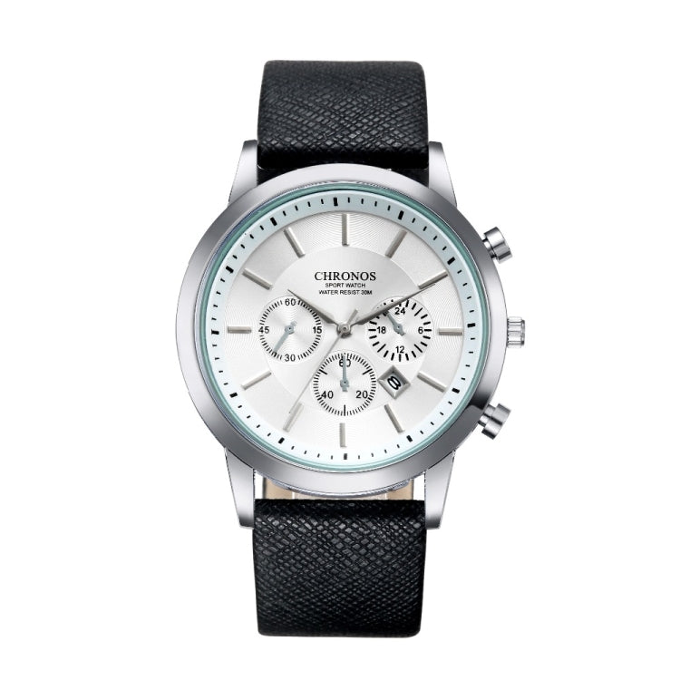 CHRONOS CH0401 Three-eye Six-needle Leather Belt Sports Watch for Men(Black and White) - star-produkte.myshopify.com