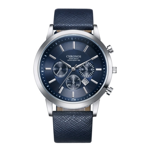 CHRONOS CH0401 Three-eye Six-needle Leather Belt Sports Watch for Men(Blue) - Star Produkte