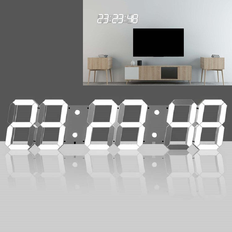 Multifunctional LED Wall Clock Creative Digital Clock US Plug, Style:Hollow Remote Control(White Font) - Star Produkte