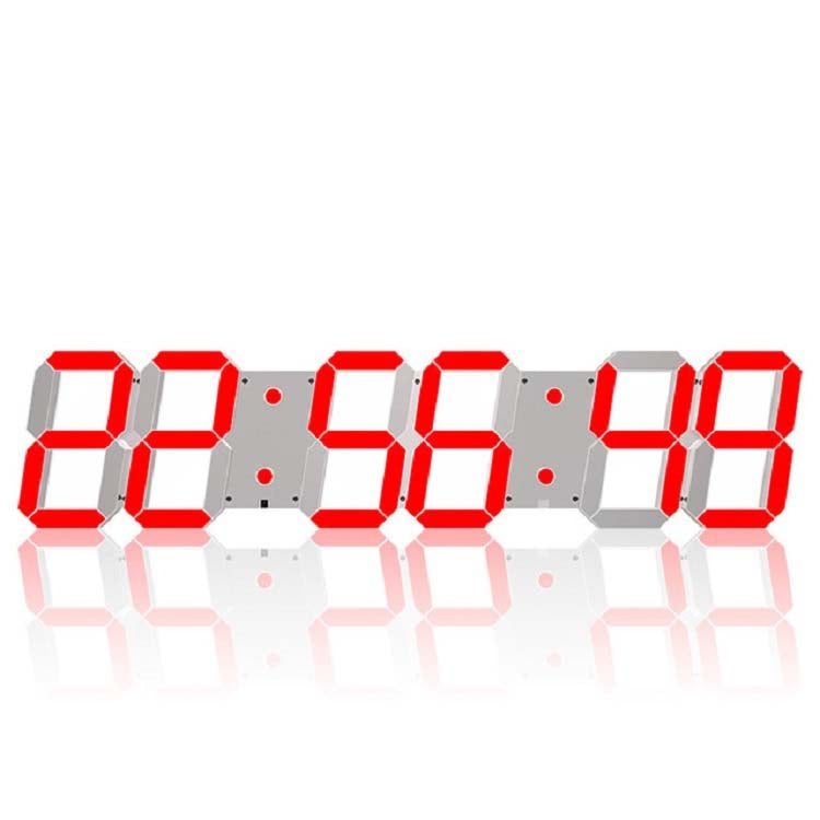 Multifunctional LED Wall Clock Creative Digital Clock US Plug, Style:Hollow Remote Control(Red Font) - Star Produkte