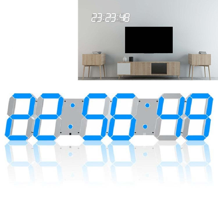 Multifunctional LED Wall Clock Creative Digital Clock US Plug, Style:Hollow Remote Control(Blue Font) - Star Produkte
