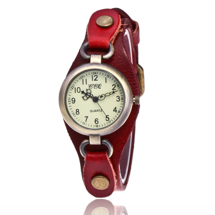 Leather Retro Bronze Small Dial Quartz Watch for Women(red) - Star Produkte