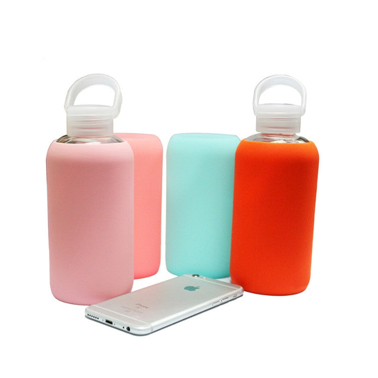 Glass Water Bottle Glass Women Water Bottles with Protective Silicon Case, Random Color Delivery - Star Produkte