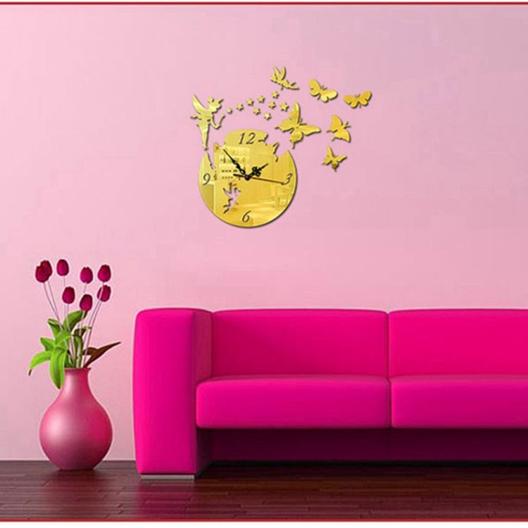 Butterfly Star 3D Acrylic Stereo Living Room Bedroom Decorating Mirror Wall Clock(Gold) - star-produkte.myshopify.com