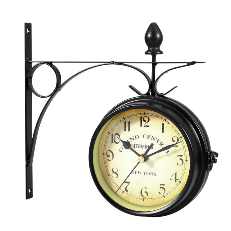 Wrought Iron Clock Vintage Decorative Double-sided Wall Clock(Black) - Star Produkte