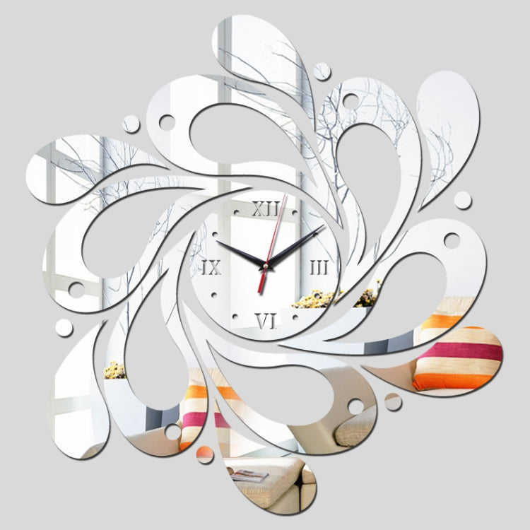 2 PCS Home Crystal Acrylic Quartz Mirror Clock Jewelry Clock Petal Pattern Clock(Silver) - Star Produkte