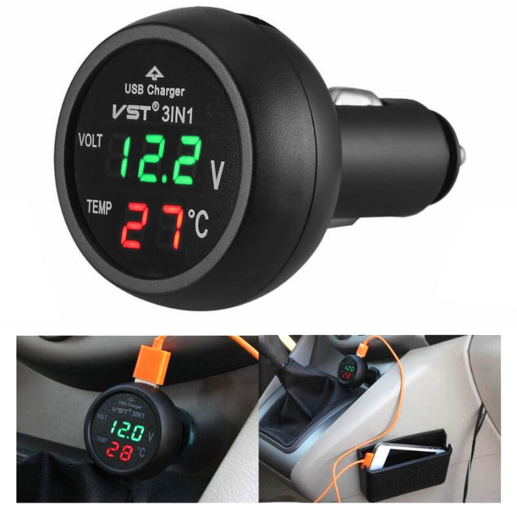 3 In 1 Car USB Charger Car Cigarette Lighter With Voltage Detection Display Multi-function Monitoring Table(Red Green) - Star Produkte