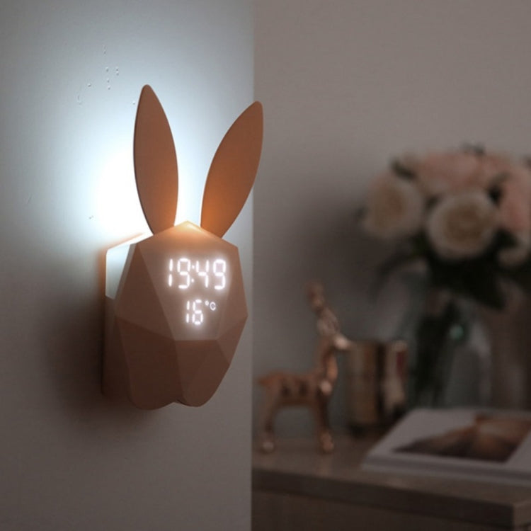 LED Sound Night Light Thermometer Rechargeable Table Wall Clocks Cute Rabbit Shape Digital Alarm Clock(Pink) - Star Produkte