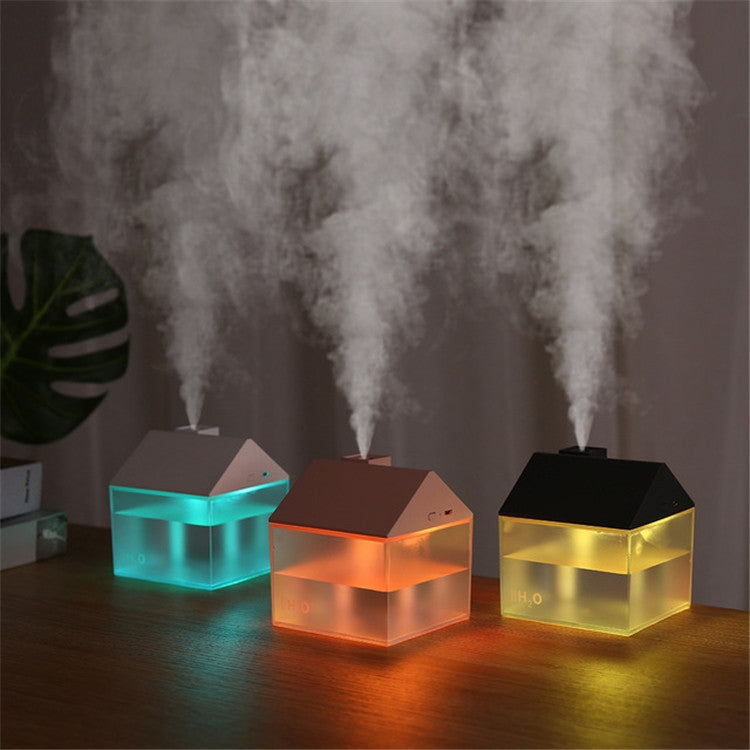 Retro House Indoor Outdoor Air Purifier Desktop Aromatherapy Humidifier with Led Night Light, Style:Lithium Battery(Pink) |