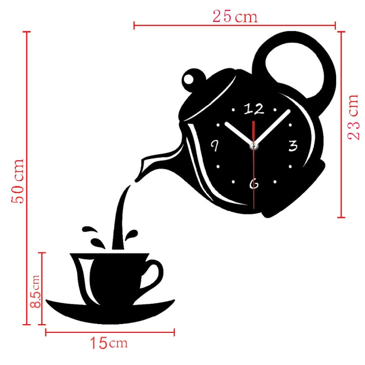 2 PCS Creative DIY Acrylic Coffee Cup Teapot 3D Wall Clock Decorative Kitchen Wall Clocks Living Room Dining Room Home Decor Clock(Red) - star-produkte.myshopify.com