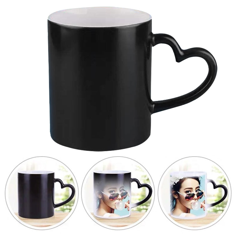 Creative Gift Personality Thermal Transfer Magic Cup Color Change Cup Ceramic Tea Cup Black Heart Handle Scrub - Star Produkte