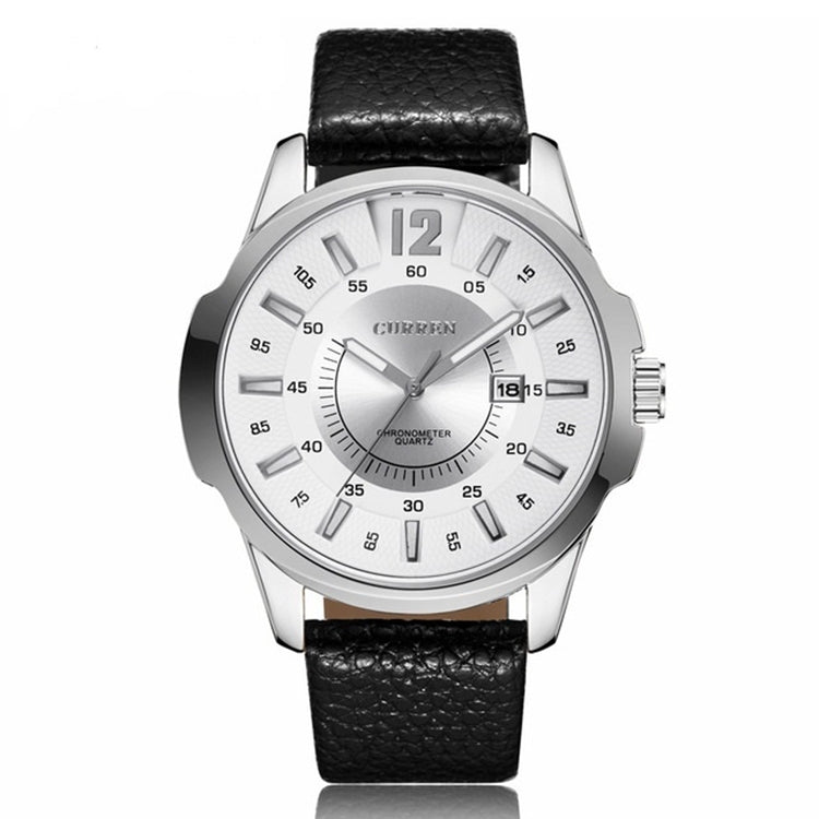 CURREN 8123 Sports Quartz Watch for Men(silver case white face) - Star Produkte