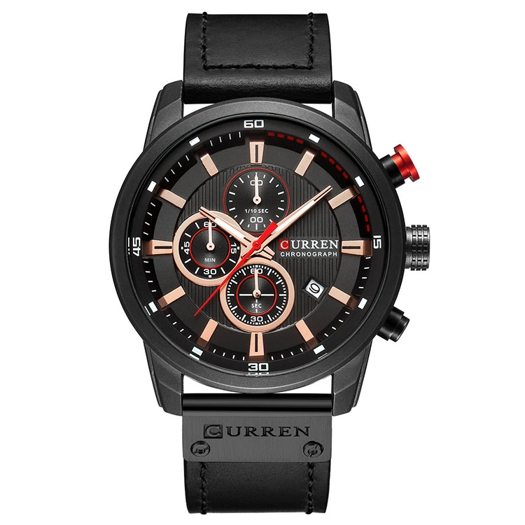 CURREN M8291 Chronograph Watches Casual Leather Watch for Men(Black case black face) - Star Produkte