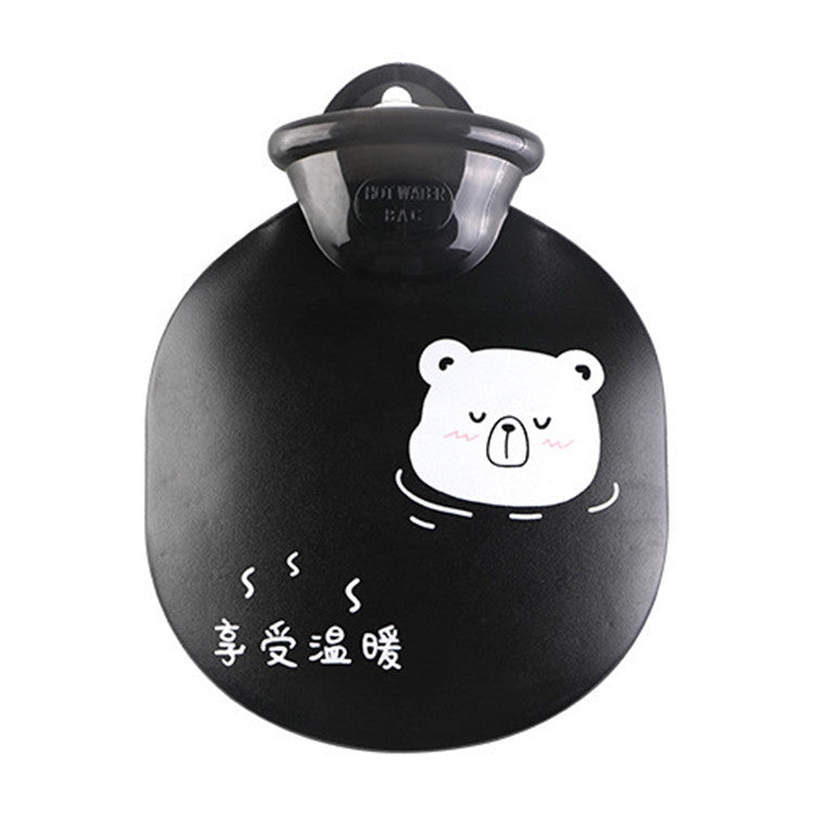 Cartoon Cute Water Injection Hot Water Bottle Discoloration Round Hand Warmer Bag(Black) - Star Produkte