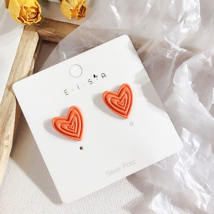 Sweet Simple Elegant Heart Shape Scrub Fluorescent Color Earring for Women(Orange) - Star Produkte