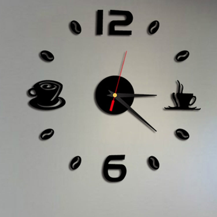 ISHOWTIENDA Fashion Acrylic DIY Coffee Cup Self Adhesive Interior Wall Creative Decoration Clock Mute Clock Stickers Muraux Wall Clock(Black) - Star Produkte