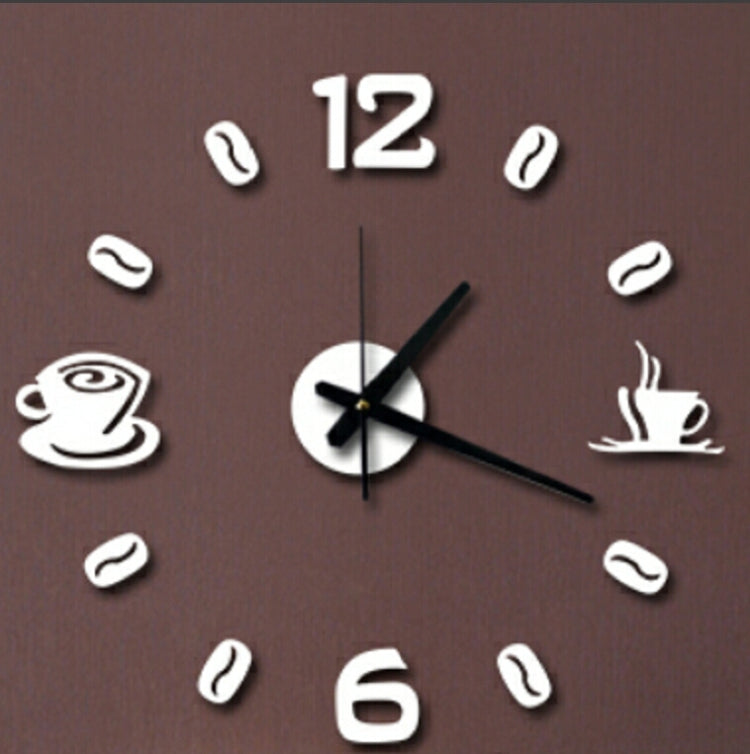 ISHOWTIENDA Fashion Acrylic DIY Coffee Cup Self Adhesive Interior Wall Creative Decoration Clock Mute Clock Stickers Muraux Wall Clock(White) - Star Produkte