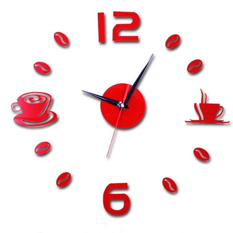 ISHOWTIENDA Fashion Acrylic DIY Coffee Cup Self Adhesive Interior Wall Creative Decoration Clock Mute Clock Stickers Muraux Wall Clock(Red) - Star Produkte